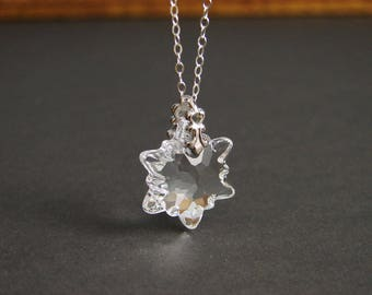Swarovski Edelweiss Necklace ~ Snowflake ~ Holiday Gift ~ Crystal Clear ~ Christmas Necklace ~ Gift for Her ~ Gift for Mom