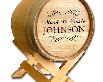 Custom Oak Wood WEDDING BARREL Gift Card Holder - Personalized with 3 lines of text: The Couple's First Names, Last Name and Wedding Date.