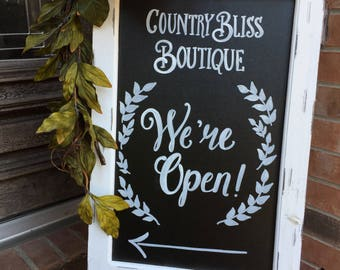 Business Chalkboard Easel • Boutique Welcome Chalkboard Sign • We're Open Business Sign •  Sandwich Board Boutique Chalkboard Easel