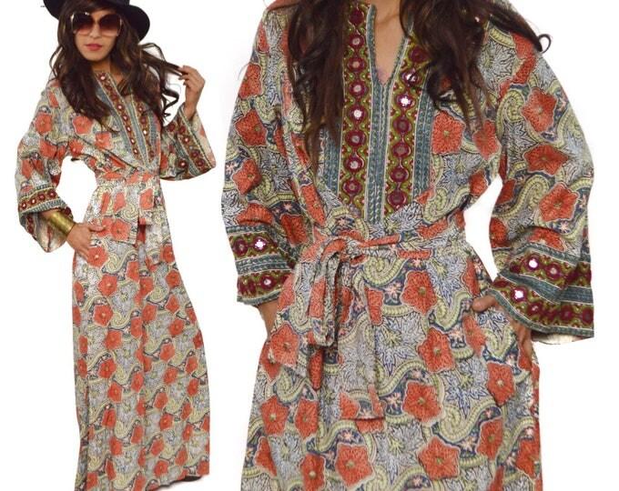 Vintage 70s Bonwit Teller Psychedelic Bohemian Floral Embellished Ethnic Kaftan Maxi Dress
