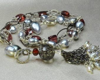 Tahitian Keshi Pearl, Rhodolite Garnet, Black Rutilated Quartz Oxidized Silver Tassel Bracelet
