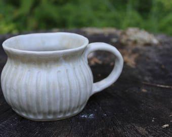 Ceramic Mug. White Coffee Mug. Handmade Mug.
