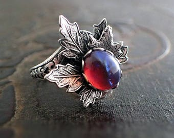 Dragon's Breath Opal Ring - Woodland Witch Wiccan Silver Maple Leaf Ring Jewelry - Adjustable Size Nature Gothic Gift - Cabochon Ring