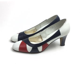 Red white blue shoes, patriotic shoes, Fourth of July shoes, vintage shoes, size 5 shoes, size 55 shoes