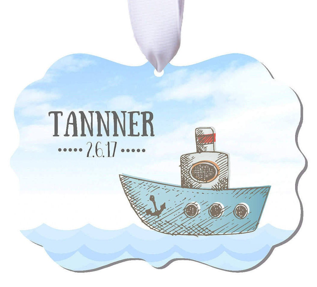 Baptism Ornament Christmas Ornament By Ryellecreations On Etsy: Baby Ornament Baby Gift Boat Ornament Boys Baby Ornament