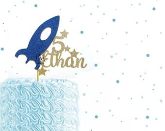 Custom Name Glitter Space Ship Cake Topper - Space Birthday Cake Topper, 1st Birthday, Space Party, Space Topper, Rocket Cake Topper