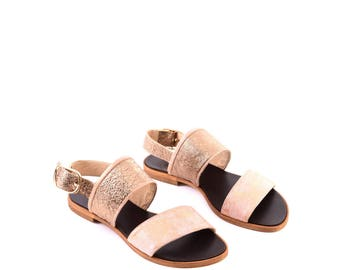 Bronze Leather Sandals, Leather Sandals, Women Summer Shoes, Pink Sandals, Summer Shoes, Pink Flats, Comfort Shoes Leather Flats
