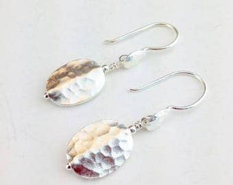 Hill Tribe Silver Earings - Sterling Earrings - Hammered Silver Earrings - Hill Tribe Silver Jewelry - Hammered Jewelry - Hill Tribe Drops