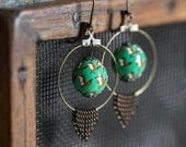 Foxes on green earrings