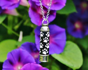 Mens Unisex Large Vial Pet Cremation Jewelry for Ashes Urn Necklace Ash Pendant Dog Cat Paw Print Memorial Gift Stainless Steel Chain Loss