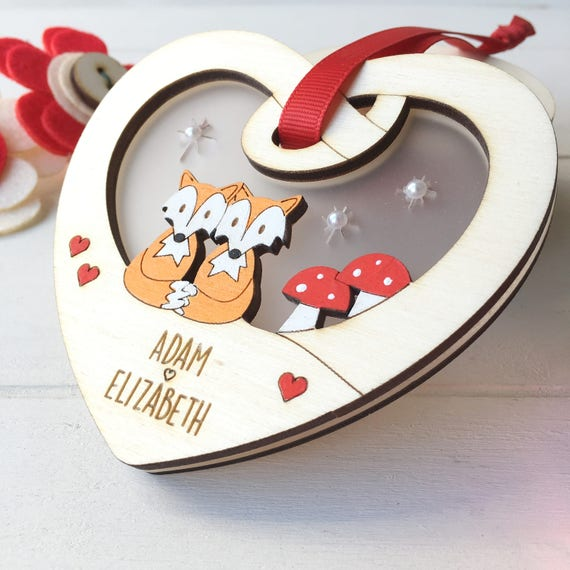 Valentine's Day gift - engagement gift - cute woodland animals - foxes - mice - love