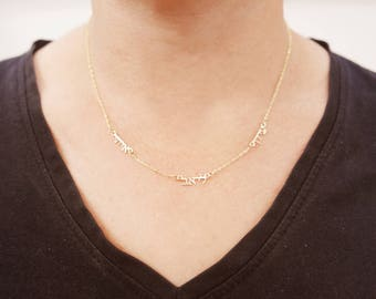 Hebrew 14k gold , 3 names necklace. Initial pendant. Letter necklace.  gold Personalized necklace. Gold name  necklace. initial necklace