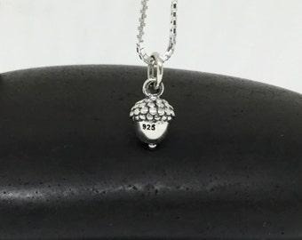 Acorn Necklace Sterling Silver Acorn Necklace Small Charm Acorn Pendant Oak Nut Necklace, Silver Acorn Charm, Simple Silver Necklace