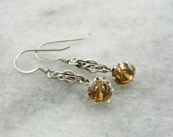 Honey Zircon Sterling Silver Filigree Drop Earrings 9KYU30-R