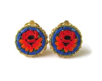 Mini Micro Mosaic Earrings/Blue Oval Italian Micromosaic Earrings/ Red Floral Gold Tone Clip Earrings/Rope Bezel Micro Mosaic Earrings