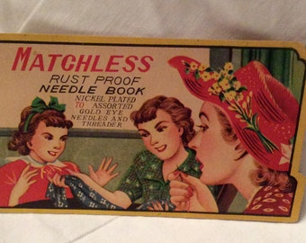 Vintage Needle Book, Matchless Rust Proof Needle Book, Sewing Notions, Sewing and Crafts Collectible