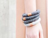 Laine & Bracelet cuivre déclaration - empiler - laine Bracelet - Bijoux industriel - Design contemporain - 7e anniversaire cadeau