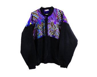 Vintage Guatemalan Embroidered Black Cotton Jacket/Coat size large US Mens