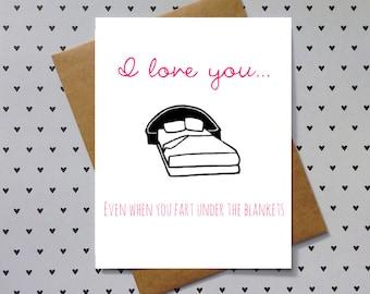 funny love card, anniversary card, or birthday card, for boyfriend, girlfriend, wife, or husband. Fart card.