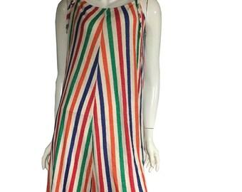 60's-70's Stripes Terrycloth Swim Cover Up Dress Summer Beach