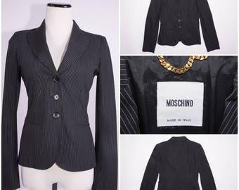 MOSCHINO Black Pinstriped Jacket / Coat / Blazer