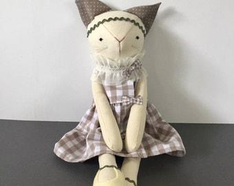 """17"""" Cat doll -Fabric cat doll- Kitten doll- Rag doll"""