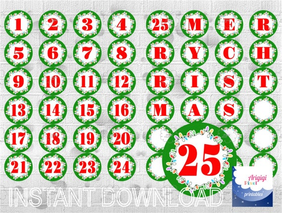 Countdown to Christmas, Printable Advent Calendar, printable labels, green, Number 1-25 and Letters MERRY CHRISTMAS download