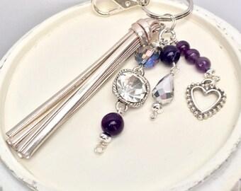 Purple keychain, Beaded purse charm, Key fob, Bag charm, Keychain, Purse charm, Key charm, Cute keychain, Purple beaded keychain