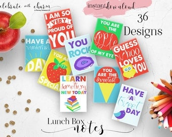 Lunch Box Notes for Kids - Back to School Notes - Assorted Lunch Box Notes - 36 Printable Cards - Instant Download