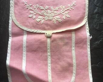 Antique Vintage Pink Linen Bag // white cross stitch, crocheted button, 3 pockets
