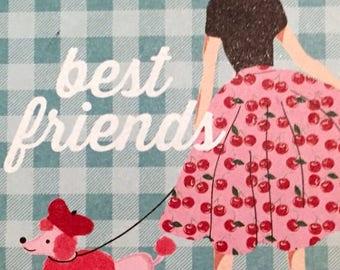 "Bookmark   ""Best Friends"" (vintage art dog pets)"