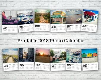 Printable calendar 2018, photography calendar, digital calendar, desk calendar, wall calendar, office calendar, office gift, photo calendar