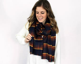 Fringe Blanket Scarf, Flannel Blanket Scarves, Plaid Rust