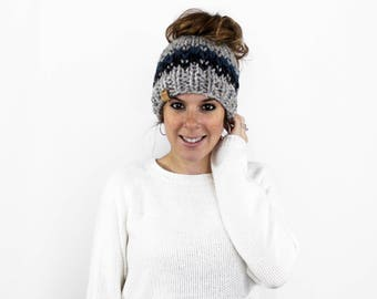 Messy Bun Hat, Ponytail headband, Bun Hat, Ponytail Hat- Patuxent Ponytail Hat