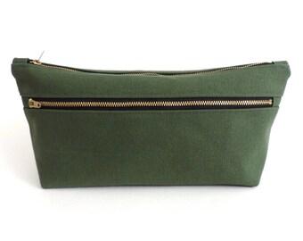 Canvas Toiletry Bag Double Zipper Dopp Kit Green