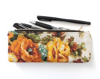Linen Pencil Case Zipper Pencil Pouch Floral