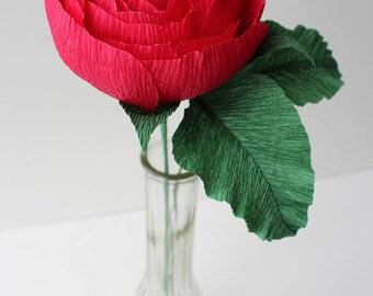 Red Garden Rose Bud Vase