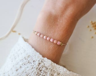 Rose Gold Dainty Bracelet with Gold Plated Pearls