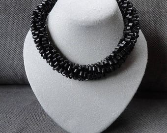 Necklace from recycled bicycle inner tubes / Black necklace / Recycled chain