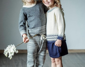 Nordic pullover in charcoal sweater baby sweater children sweater kids pullover wool knitted pullover / wool sweater girl boy sweater