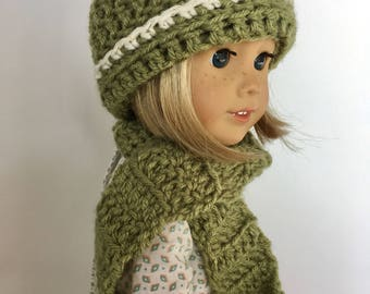 18 Inch Doll Crochet Beanie Hat and Scarf Set - Fits American Girl Dolls