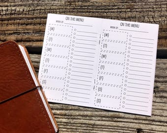 Traveler's Notebook POCKET Size Meal Planning Inserts