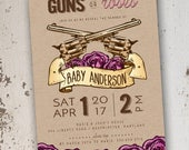 Guns and Roses Gender Reveal Invitation 5x7: Printable and Customizable