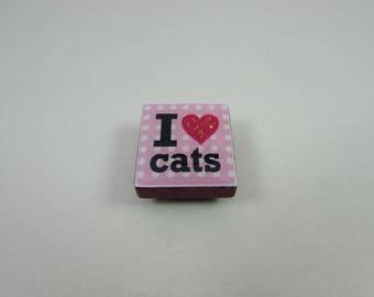 Cat Needle Minder from Designs by Lisa, made from upcycled scrabble tiles. Useful needlework accessory and makes a great gift too!