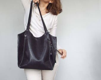 Leather tote summer. Leather shoulder bag. Structured leather purse. Purple, gray leather tote bag.
