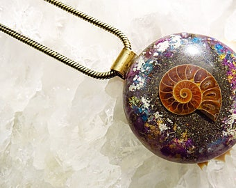 Powerful Orgone Pendant - Snow Quartz/Lepidolite/Blue Apatite/Pyrite/Ammonite - FREE WORLDWIDE SHIPPING!