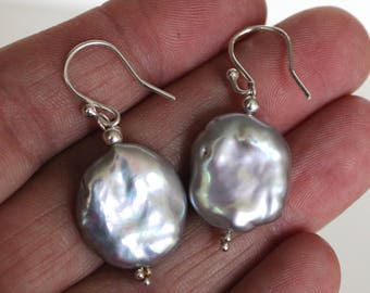 Large pearl earrings//Grey coin fresh water pearls