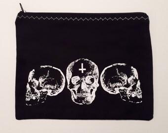 Black Skull Trio Makeup Bag/Cosmetics Bag/Zipper Pouch