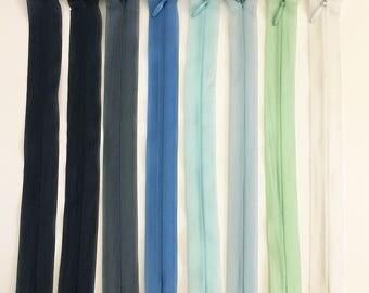 Set of 8 20 assorted colors - Lot 11 cm invisible zipper closures
