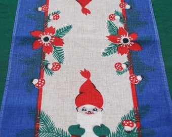 Vintage Swedish printed Christmas linen table runner winter dwarfs from Sweden M Buhler design - Swedish Textile artist Collectible